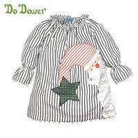 Do Dower Christmas Girls Dress Kids Santa Claus Dress For Girls Children Stripe Star Girl Dresses
