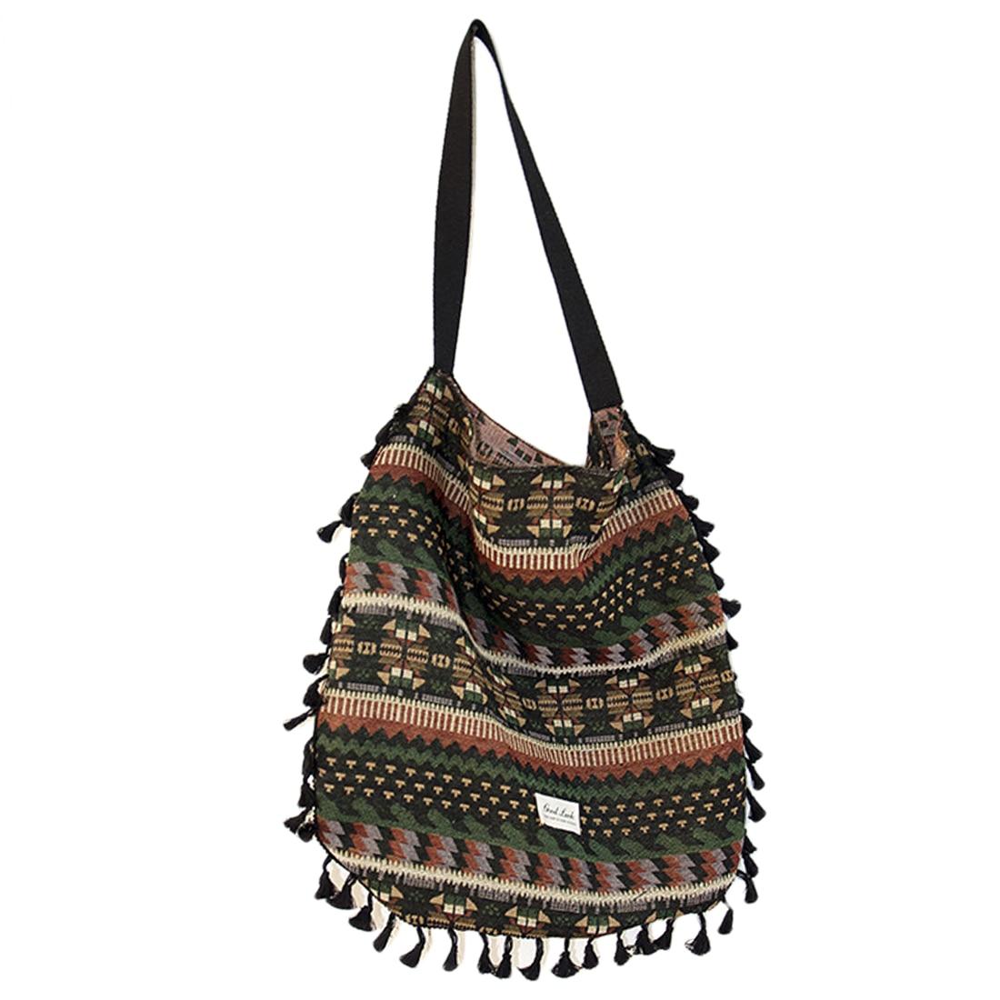 Tassel Women Shoulder Bag Vintage Ladies Handbags Bohemian Ethnic Retro Knit Woven Femanine Handbag Folk Boho Shopping Bag