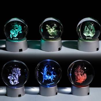 3D Ź�支クリスタルボール 12 Ƙ�座ガラスグローブ家の装飾球カラフルな Led Ã�イト星座飾り星座