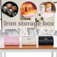 Vintage Bread Box Kitchen Bread Container Snack Storage Boxes Dustproof keep smell Food Home bakery shop Iron Storage Box