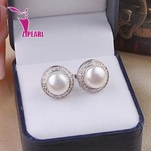 Zjpearl естественных пресноводных жемчужные серьги для женщин, 9 мм жемчужные серьги, Серебро 925 мода жемчужные украшения, Лучший подарок