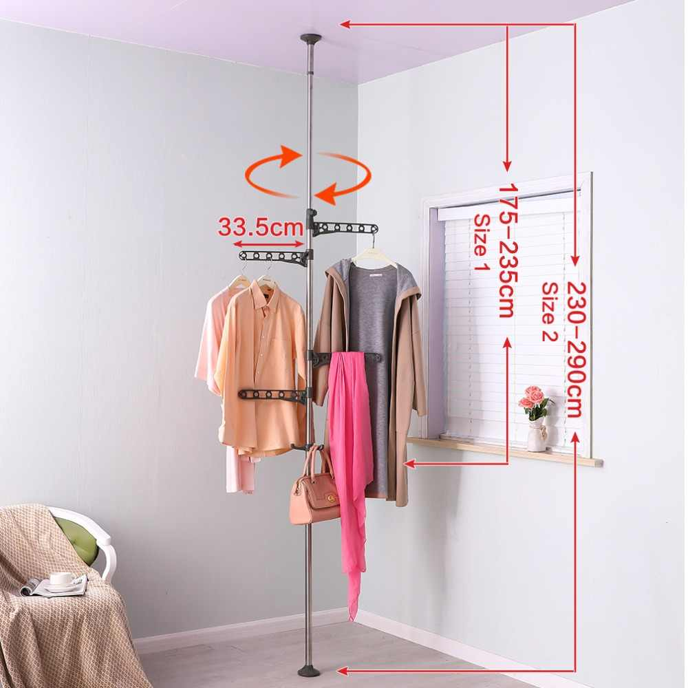 Coat Hanger Shelf Clothes Scarf Hat Stand Ceiling to Floor Tension Pole Garment Rack Hanger Hooks Holder Modern Style DQ0777-B