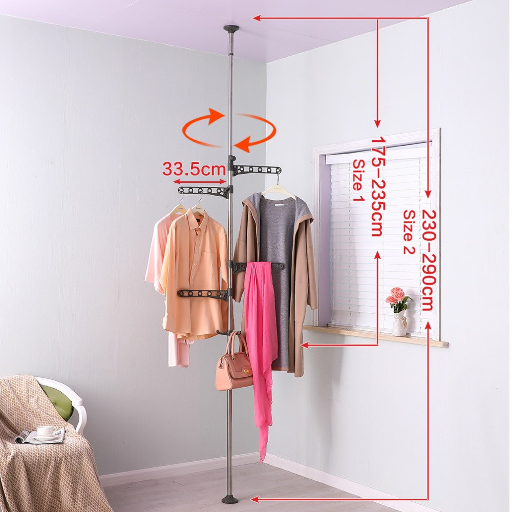 Modern Style Stand Ceiling To Floor Tension Pole Coat Scarf Hat Hanger Shelf Clothes Drying Rack Hanger Hooks Holder DQ0777-B