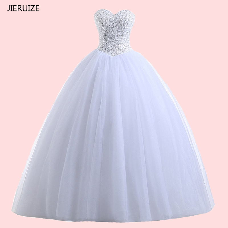 JIERUIZE White Beaded Ball Gown Cheap Wedding Dresses 2018 Lace Up Back Wedding Gowns Bridal Dress