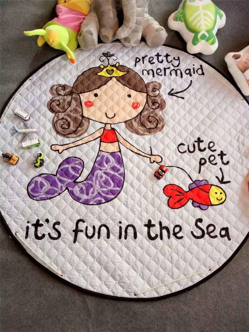 Tapis de sol Dia pour chambre d'enfants. 150 cm rond bébé tapis de jeu bébé filles garçons ramper tapis jouet organisateur de stockage pochette sacs - 2