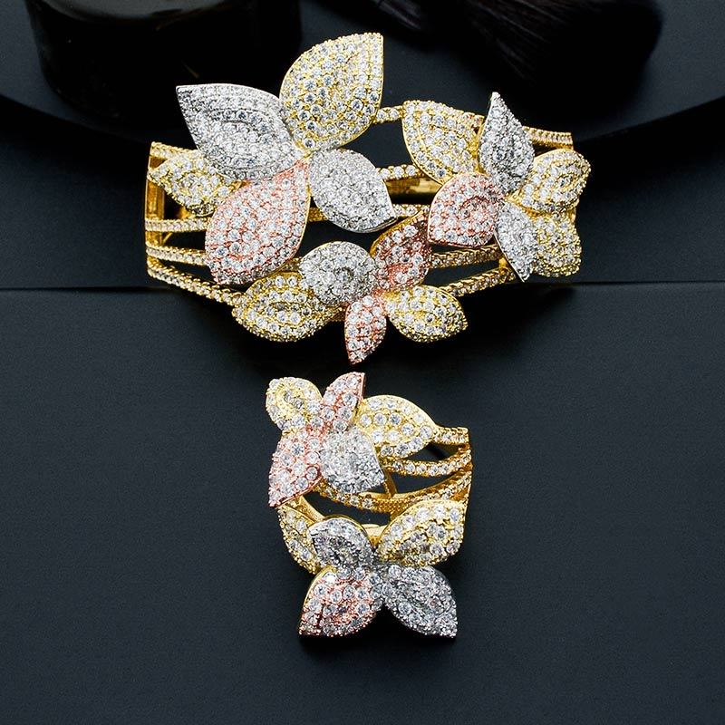 ModemAngel Luxury Leaf Flower Full Micro Paved Cubic Zircon 3Tone Copper Bangle And Ring Set Wedding