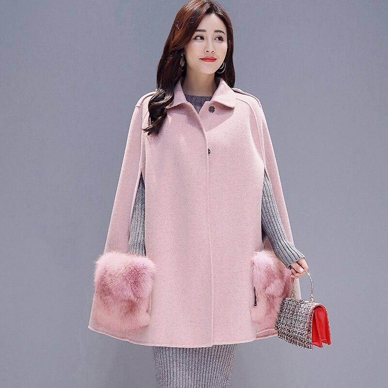 Chaud Laine Chauve Zy754 2018 Mode Femmes Manteau Manches red Outwear Manteaux Taille Élégant pink Des Veste D'hiver Nouvelle Blue Long Mince De souris Grande wwZq0UR