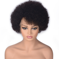 Short Afro Kinky Curly Full Lace Wigs Natural Color Brazilian Remy Human Hair Wigs For Black Women With Baby Hair Curly Wigs