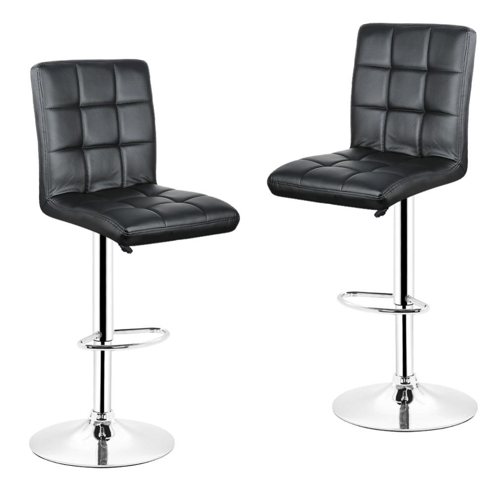 2pcs Lot Black Nine Grid Backrest Leisure Swivel Bar Stools Chairs