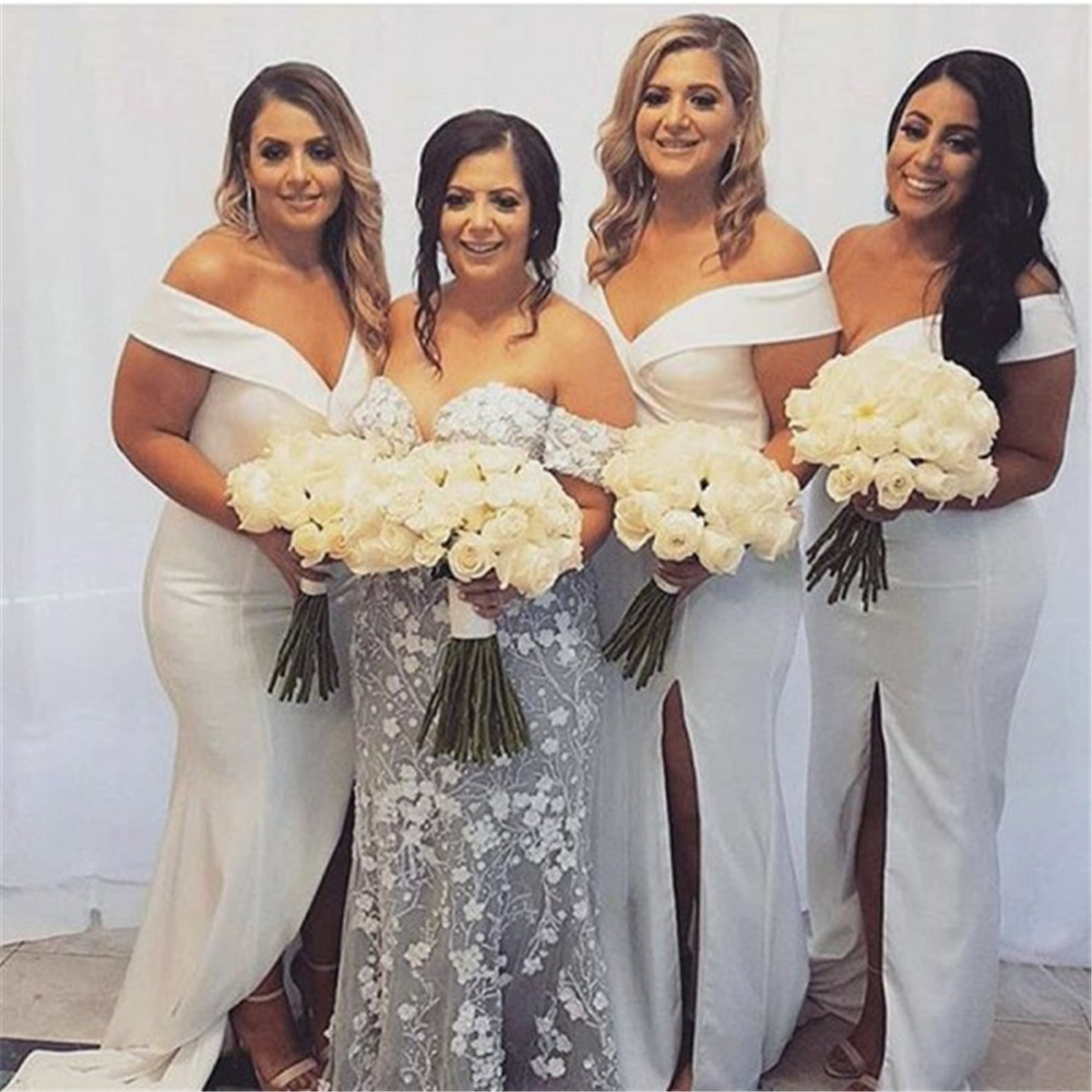 Hot Selling White Mermaid   Bridesmaid     Dresses   Boat Neck Off The Shoulder Side Split Long Maid Of Honor   Dress   Cheap Women Gowns