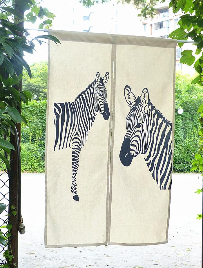 Nice zebra Curtains Korean cotton animal wild door curtain partition half zebra new Japanese door curtain bedroom door curtain