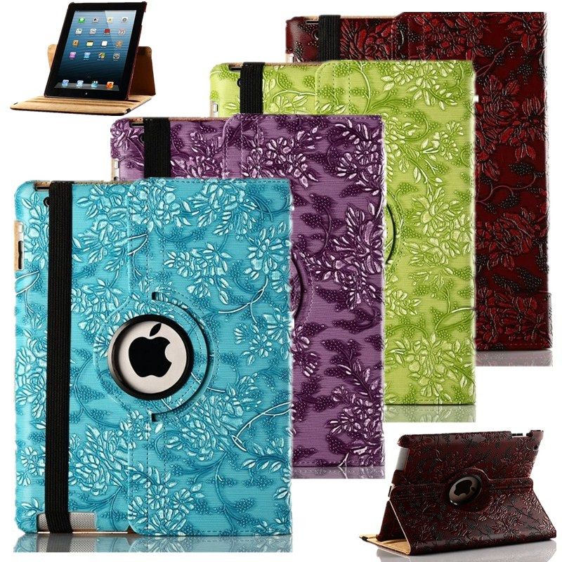 3D Painter Grape Pattern Case For Ipad 2 Ipad 3 360 Rotating Smart Flip Stand PU Leather Tablet Cover Case For Apple Ipad 4 9.7