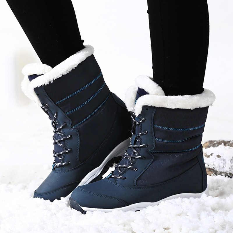 Botas femininas à prova dwaterproof água sapatos de inverno botas de neve plataforma manter quente tornozelo botas de inverno com pele grossa saltos botas mujer 2019