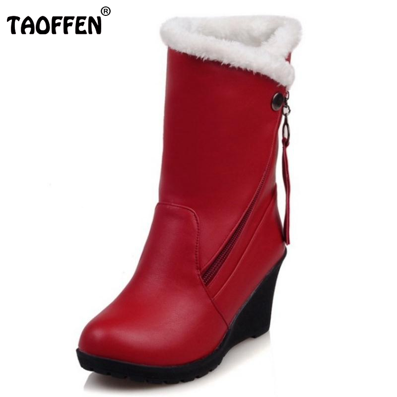 Size 30 52 Woman Round Toe Wedge Mid Calf Boots Women Thickened Fur Winter Warm Half
