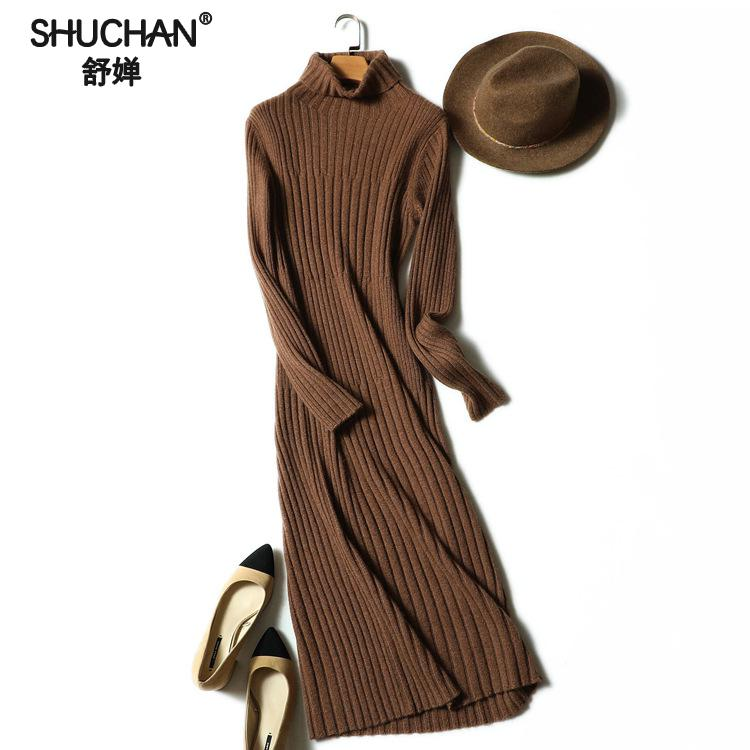 SHUCHAN Knitted Winter Dress Women Office Sexy Turtleneck Cashmere Bodycon Sweater Dresses Mid-calf Sheath Winter Warm 17625