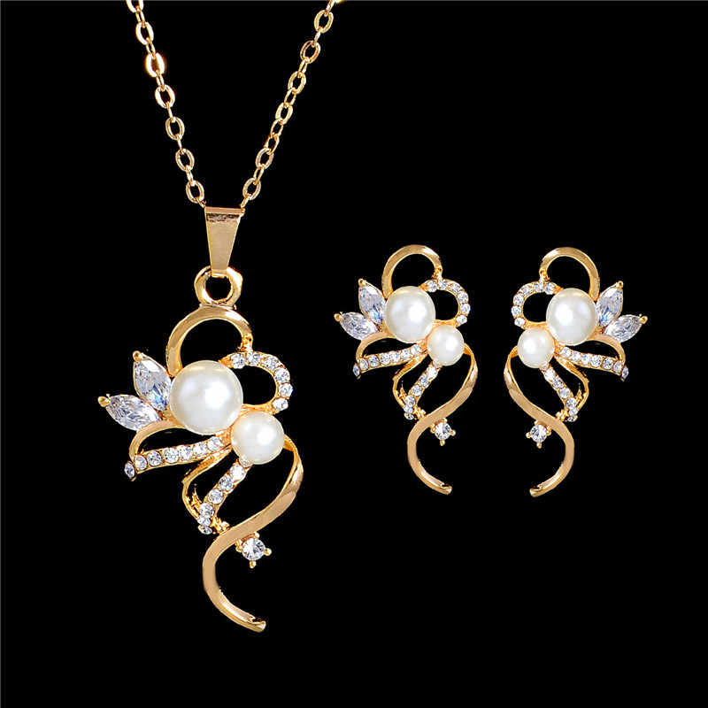 SHUANGR Simulated Pearl Jewelry Set For Women Austrian Crystal Gold Color Chain Long Pendant Necklace Drop Earrings bijoux femme