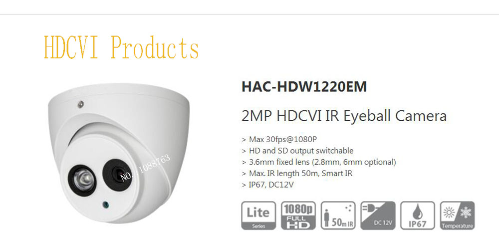 все цены на Free Shipping Original English DAHUA Security Camera CCTV 2MP HDCVI Eyeball Digital Video Camera IP67 without Logo HAC-HDW1220EM онлайн