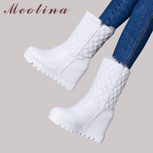 Meotina Winter Snow Boots Fur Women Shoes Plush Warm Mid Calf Boots Platform Wedge Heel Boots Plaid High Heel Footwear White