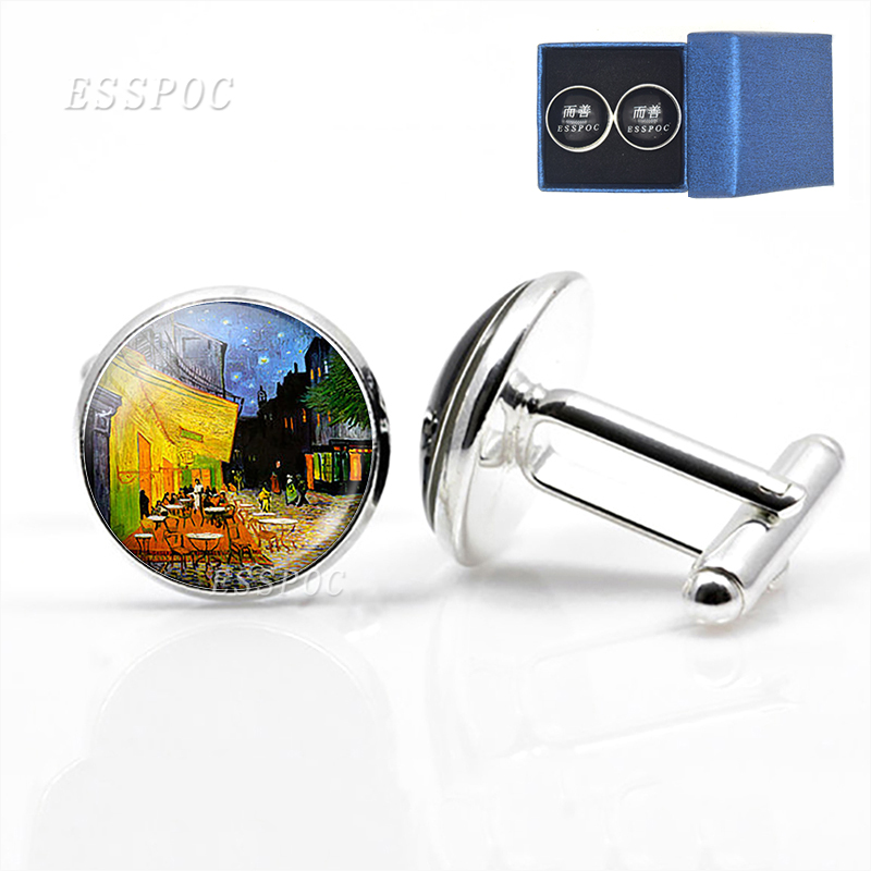 Personality Van Gogh Oil Painting Glass Alloy Cufflinks Starry Night Sunflower Silver Suit Cuff Links Men Shirt Accessories Gift in Tie Clips Cufflinks from Jewelry Accessories