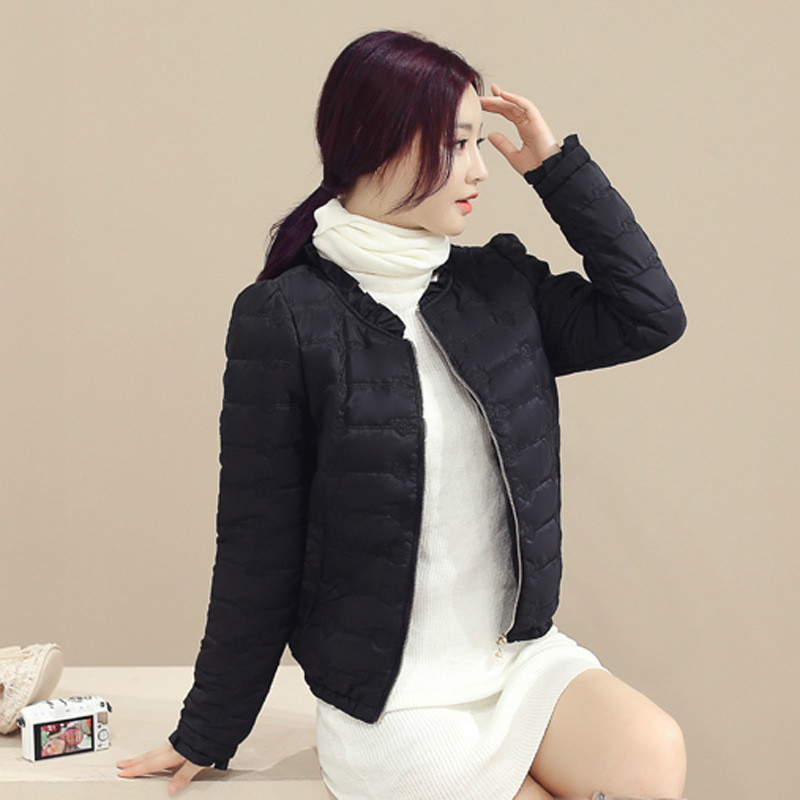 Autumn Cotton Coat Slim Winter Jacket Thick Girl Clothing Large Size 3xl Embroidery Ladies Tops Fashion Long Sleeve Black   Parkas