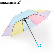 SHOWERSMILE Colorful Umbrella Kids Transparent Long-Handle Rain Umbrellas for Children Cute Boys Girls Plastic Parapluie
