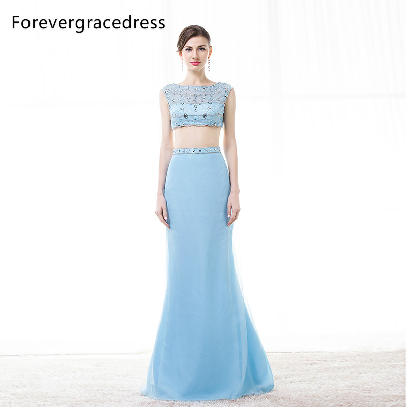 Forevergracedress Real Images Light Blue Prom Dress New 2 Pieces Crystal Beaded Sleeveless Long Formal Party Gown Plus Size