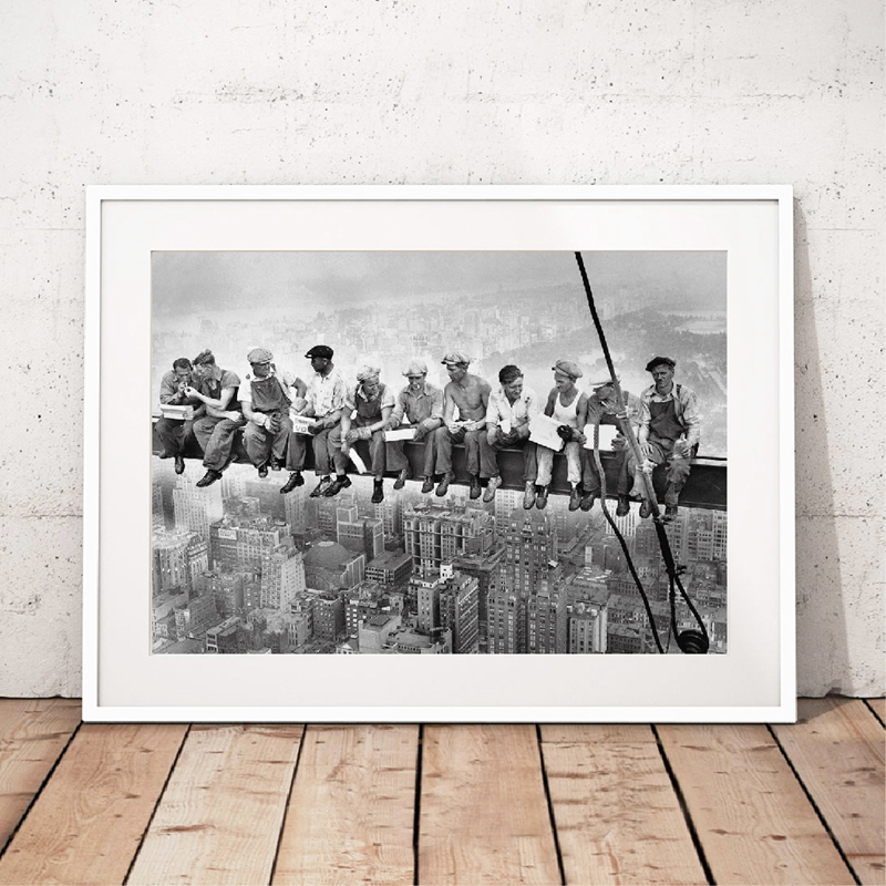 Lunch On A Skyscraper New York City Vintage Poster Prints Black White Lunch A Top Photo Canvas Painting Home Wall Art Decor