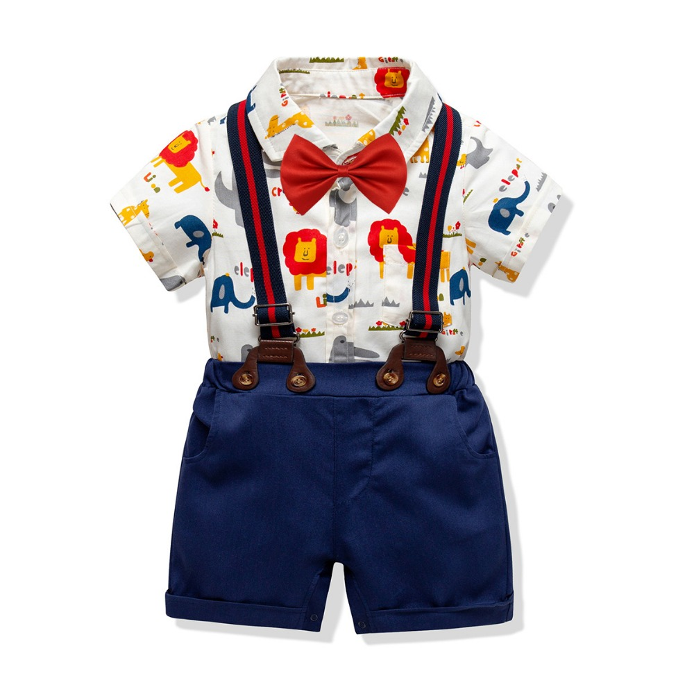 2019 Summer Toddler Baby Boys Clothing Sets Short Sleeve Cartoon Bow Tie Shirt+Suspenders Shorts Pants Formal Gentleman Suits