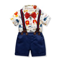 2019 Summer Toddler Baby Boys Clothing Sets Short Sleeve Cartoon Bow Tie Shirt+Suspenders Shorts Pants Formal Gentleman Suits