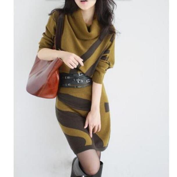 New Women autumn Winter Dress Turtleneck Knitted Sweater Dress Slim Sexy Dress Women Sweaters Pullovers T887