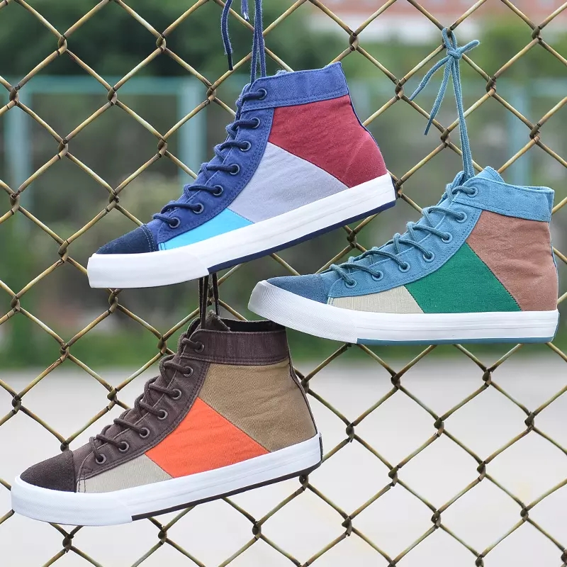 Sneakers Skate-Shoes High-Top Breathable-Color Men's Casual Matching title=
