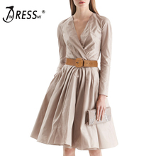 INDRESSME Fashion Deep V Full Length With Sashes A Line Knee Length Spring Women Lady Dress Vestidos Clearance