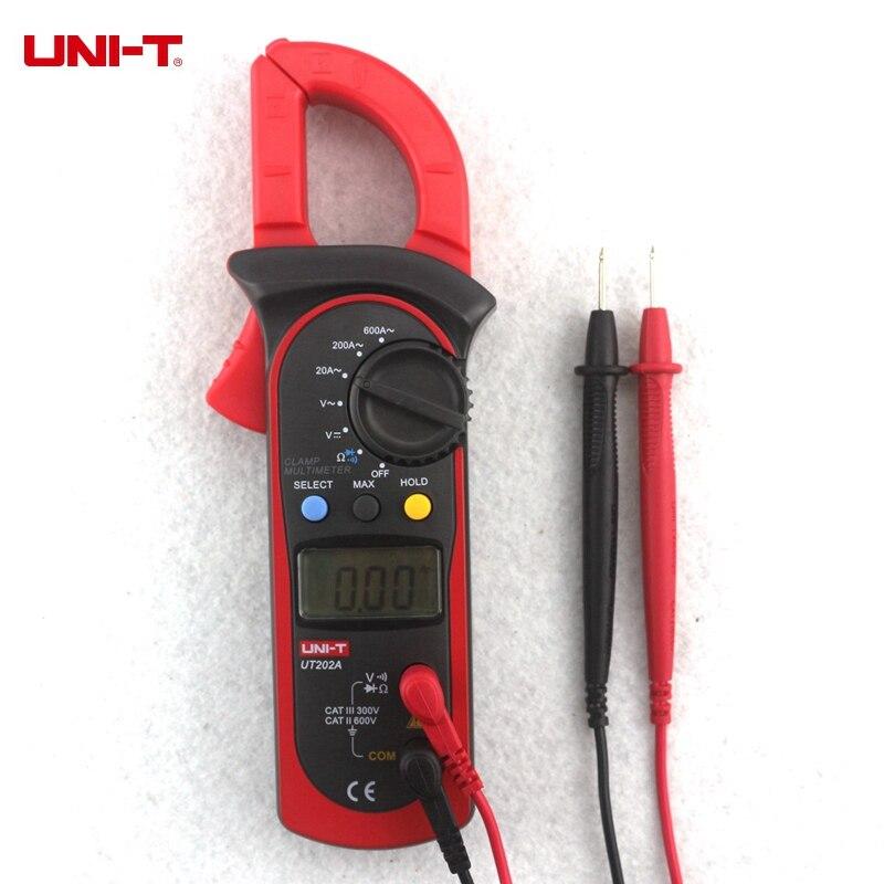 UNI-T UT202A UT201 UT202 Digital multímetro de la abrazadera de la AC/DC voltímetro AC medidor de corriente resistencia de Tester