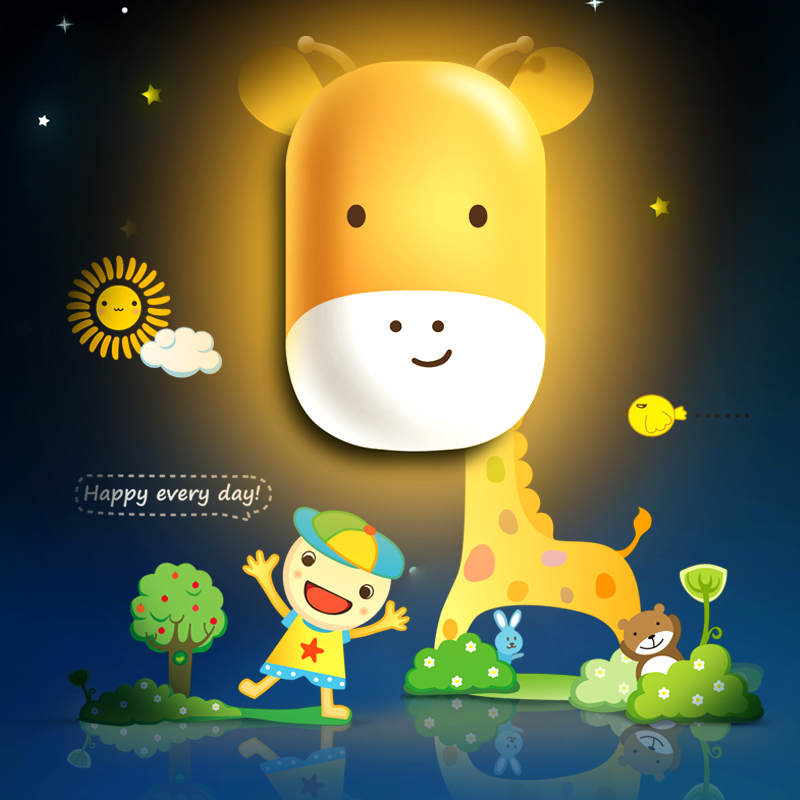 Light sensing switch wallpaper wall plug in baby bedroom bedside lamp energy saving LED light cunningham david d in vivo glucose sensing