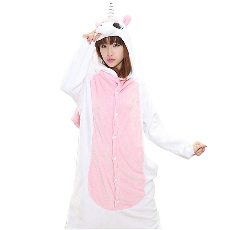 Unicorn Pajamas Adult Flannel onesize Cartoon Autumn Winter Pajamas Family Fitted Animal Pajamas for women men