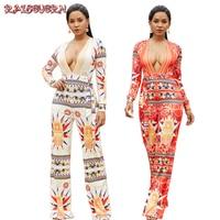RAISEVERN Floral Bodycon Jumpsuit Romper Long Sleeve Bodysuit Women Sexy V Neck Jumpsuit Elegant Full Length Polyester 2018