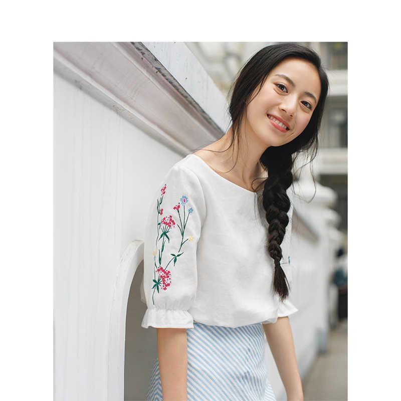 インマン夏 2019 ファム綿ブラウス蓮の葉半袖トップス因果刺繍光色女性ブラウス