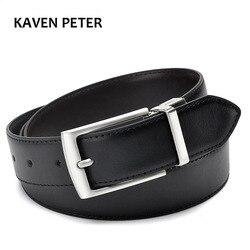 Cinturón de cuero genuino con hebilla girable para hombre, cinturón Formal de negocios con doble cara, negro, marrón oscuro, amarillo, marrón, 3,5 CM