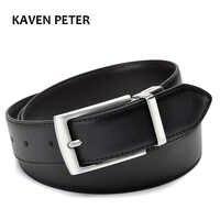 Revolvable boucle ceintures pour hommes formelle affaires en cuir véritable ceinture avec Double face noir brun foncé jaune marron 3.5 CM ceintures