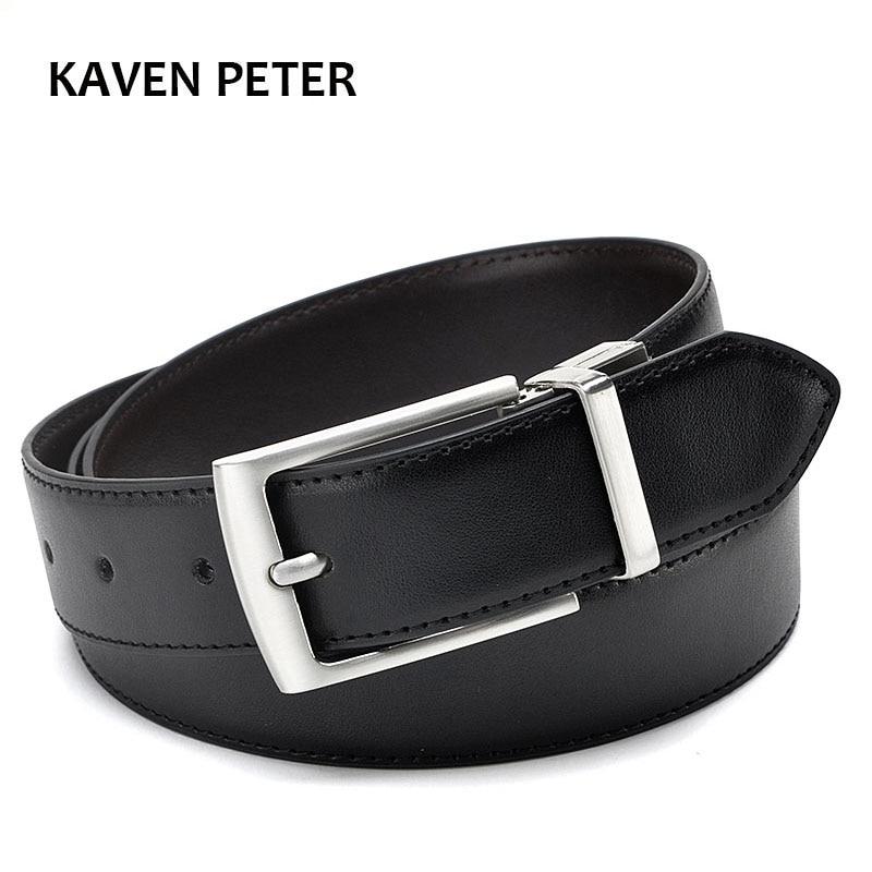 Revolvable hebilla cinturones para hombres de negocios Formal correa de cuero genuino con doble lado negro oscuro marrón amarillo-marrón-3,5 CM cinturones