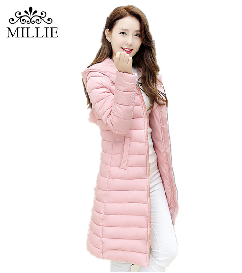 2016 New Fashion Winter Women Slim Long down cotton-padded jacket coat female Long Parkas warm womens Down jacket