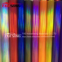 3M/5M/10M/15M/20M FOR CHOICE New arrival holographic chrome wrap film holographic rainbow film with air free bubbles
