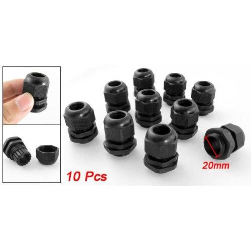 M20 x 1,5 Пластиковые Водонепроницаемые кабельные сальники, упаковка из 10 шт черный