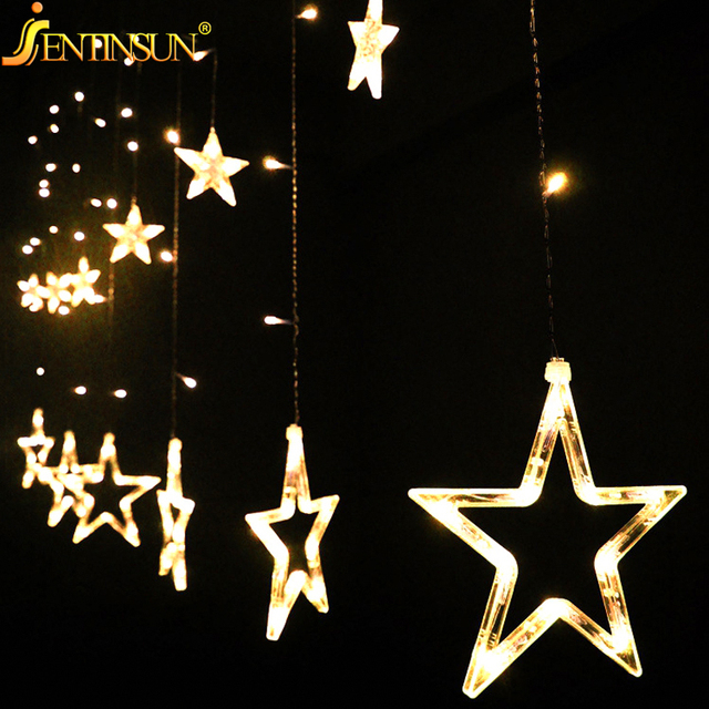 Alta Qualidade 2 m 12 pcs 138led Estrela de Cordas Noite Fio de Cobre Luz Cordas Luz Decoração Para Festa de Natal Das Bruxas casamento