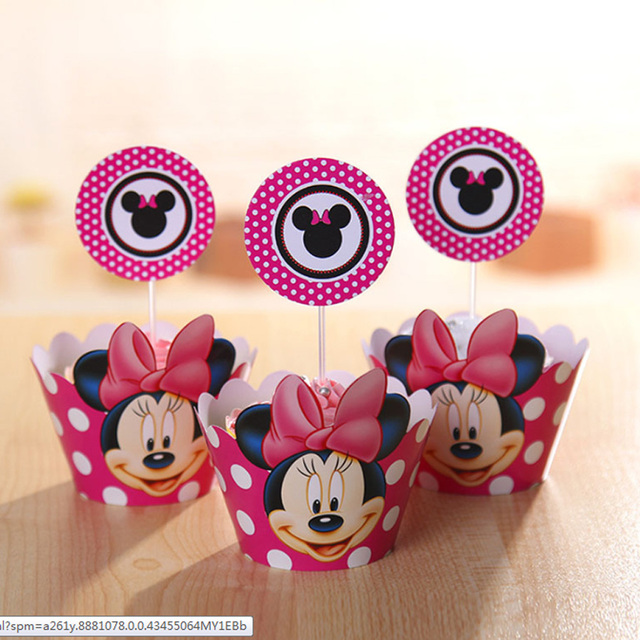 24pcs Minnie Mouse Birthday Party Supplies Cupcake Wrappers Toppers Decoration Baby Shower Favors