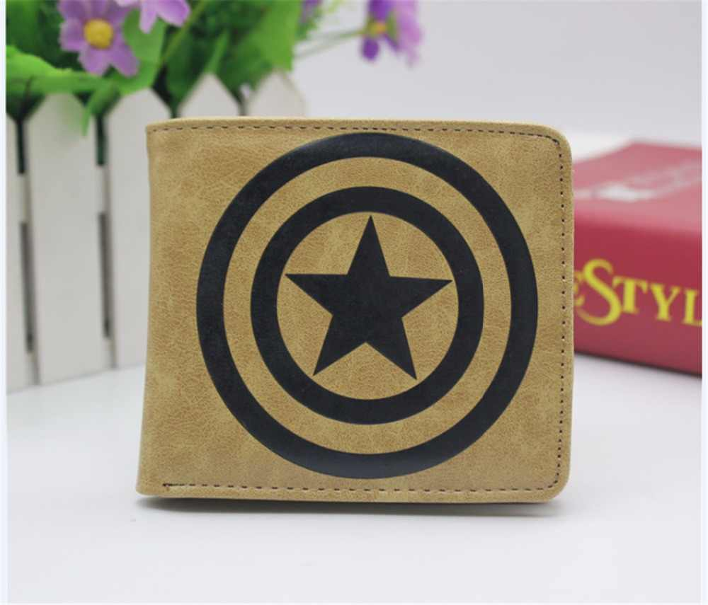 Marvel Super hero Captain America Logo Wallet Double fold wallet boys girls Credit Card purse New PU Short Wallet