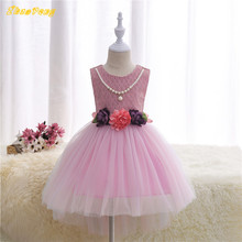 100pcs lot DHL Baby girls Princess wedding dovetail dress sleeveless lace flowers with bradde chain bowknot
