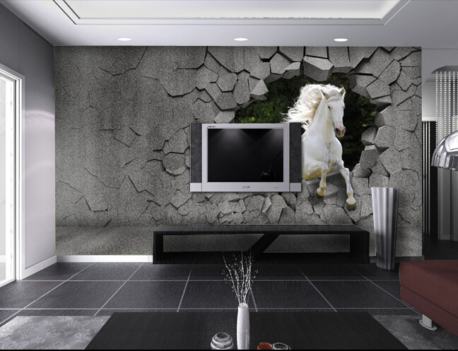 Compre cavalo personalizado 3d papel de for Sala de estar com papel de parede 3d