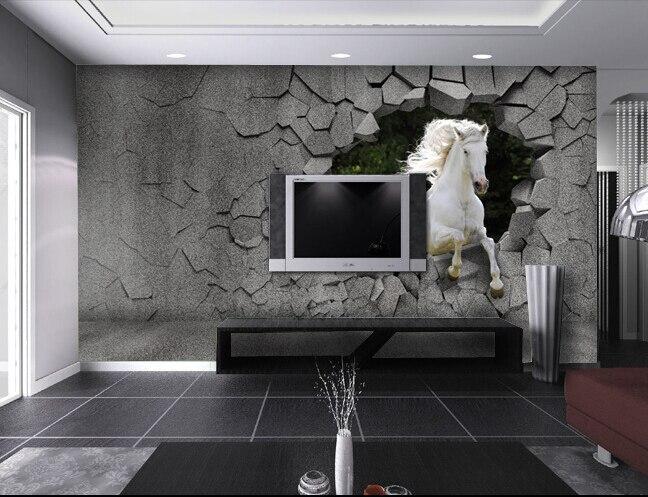 3d cavalo papel de parede popular buscando e comprando for Wallpaper sala de estar