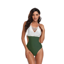 Sexy One Piece Swimsuit Women 2019 Stitching Lace One-piece Swimsuit  Contrast Color Swimwear Backless Bathing Female Swim Wear one shoulder contrast lace blouse